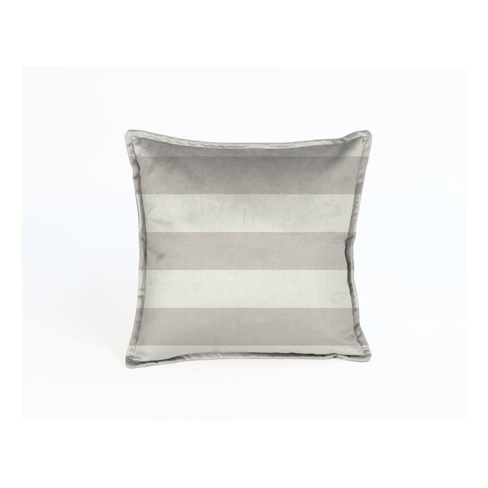 Béžový dekorativní polštář Velvet Atelier Stripes, 45 x 45 cm