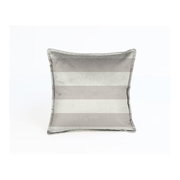 Béžový dekorativní povlak na polštář Velvet Atelier Stripes, 45 x 45 cm