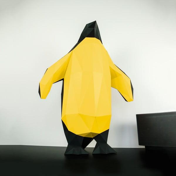 Papírová socha Tučňák, černo-zlatý