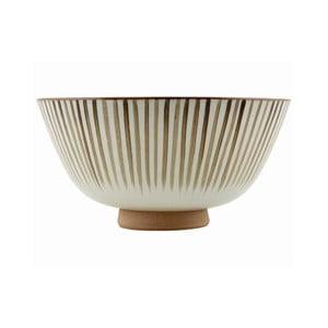 Ručně malovaní mísa Stripes Brown, 20x10 cm