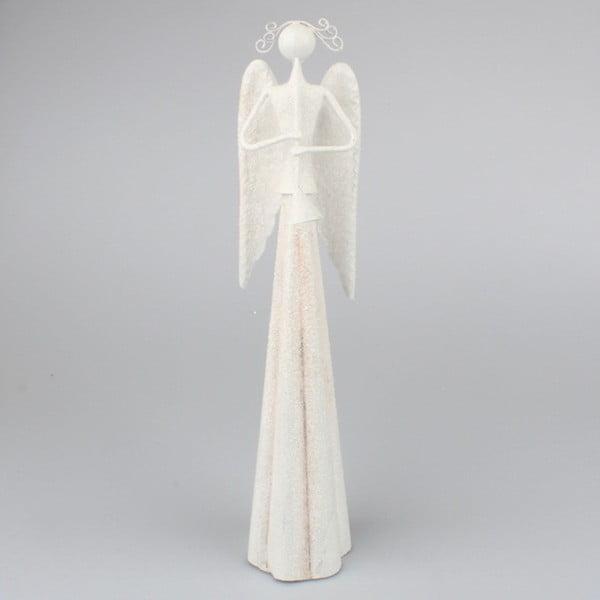 Bílý kovový anděl Dakls, výška 6 cm