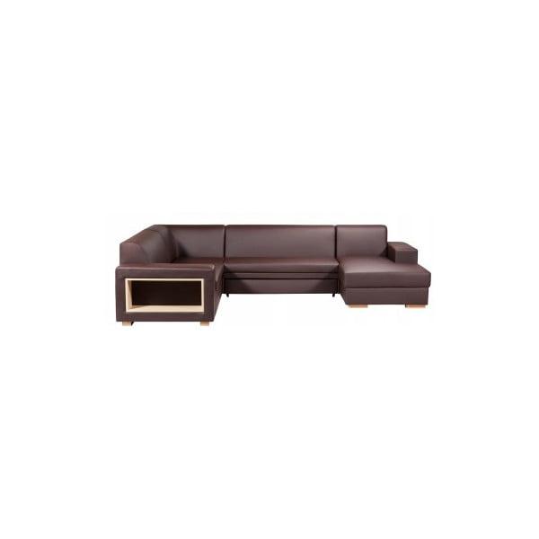 Rozkládací pohovka A-Maze s úložným prostorem 305 cm, čokoláda, pravá strana