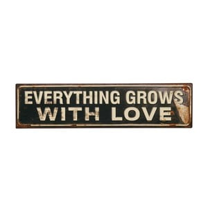 Cedule Everything grows with love, 50x13 cm