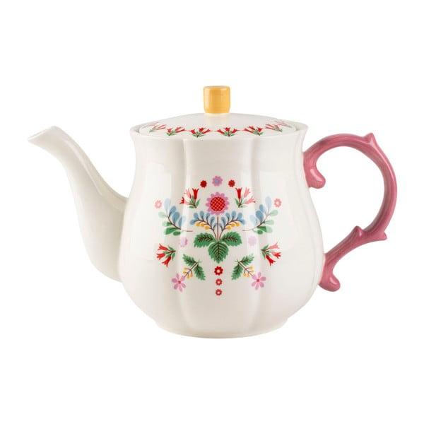 Bílá čájová konvice z porcelánu s květinovým motivem Creative Tops, 1,4 l