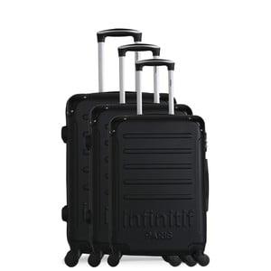 Sada 3 černých cestovních kufrů na kolečkách Infinitif Horten-A