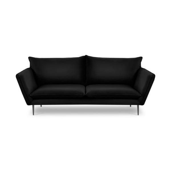 Čierna zamatová pohovka Mazzini Sofas Acacia, dĺžka 225 cm