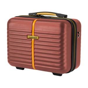 Hnědý kosmetický kufřík Travel World, 28 x 35 cm