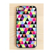 Obal na iPhone 4/4S, Joyful Multicolored Triangle/black