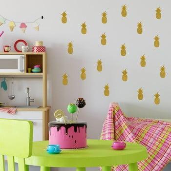 Set autocolante de perete North Carolina Scandinavian Home Decors Pineapple, auriu de la North Carolina Scandinavian Home Decors