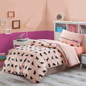 Lenjerie de pat cu cearșaf Cats, 160 x 220 cm