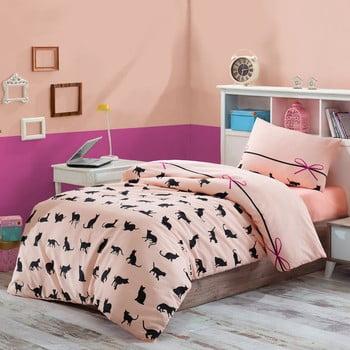 Lenjerie de pat cu cearșaf Cats, 160 x 220 cm de la Eponj Home