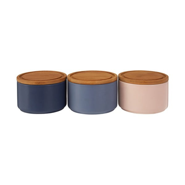 Set 3 boluri din ceramică cu capac din bambus Premier Housewares, 4,5 dl