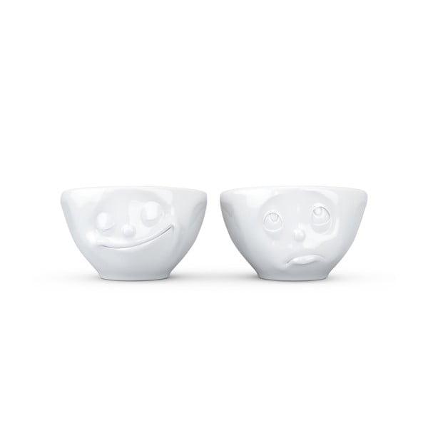 Sada 2 bílých šťastných misek z porcelánu 58products, objem 100 ml