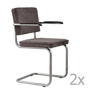 Sada 2 tmavě šedých židlí s područkami Zuiver Ridge Rib