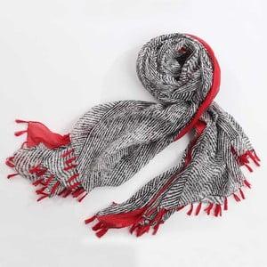 Šátek, černobílý vzor s akcentem červené