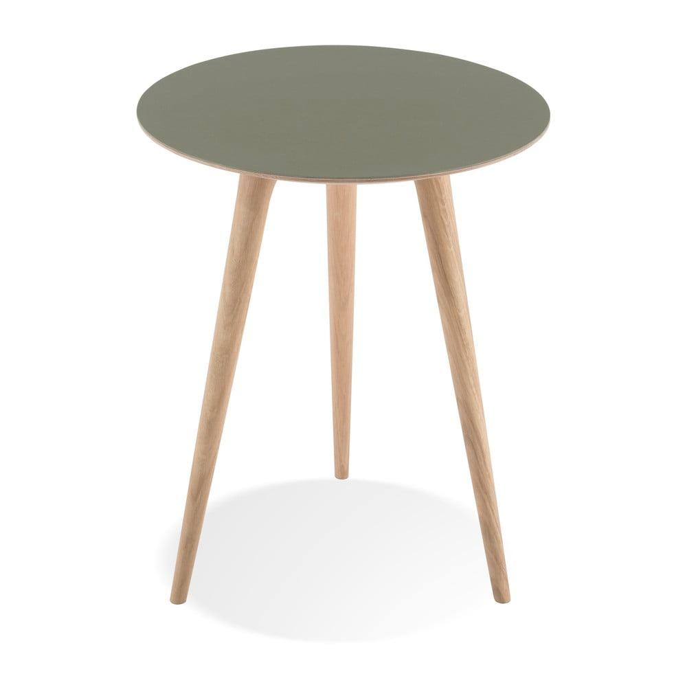 Příruční stolek z dubového dřeva se zelenou deskou Gazzda Arp, ⌀45cm