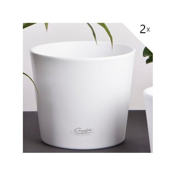 Sada 2 bílých květináčů Matt, 19 cm