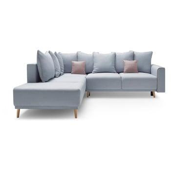 Canapea extensibilă, cu șezlong pe partea stângă Bobochic Paris Mola L, albastru deschis de la Bobochic Paris
