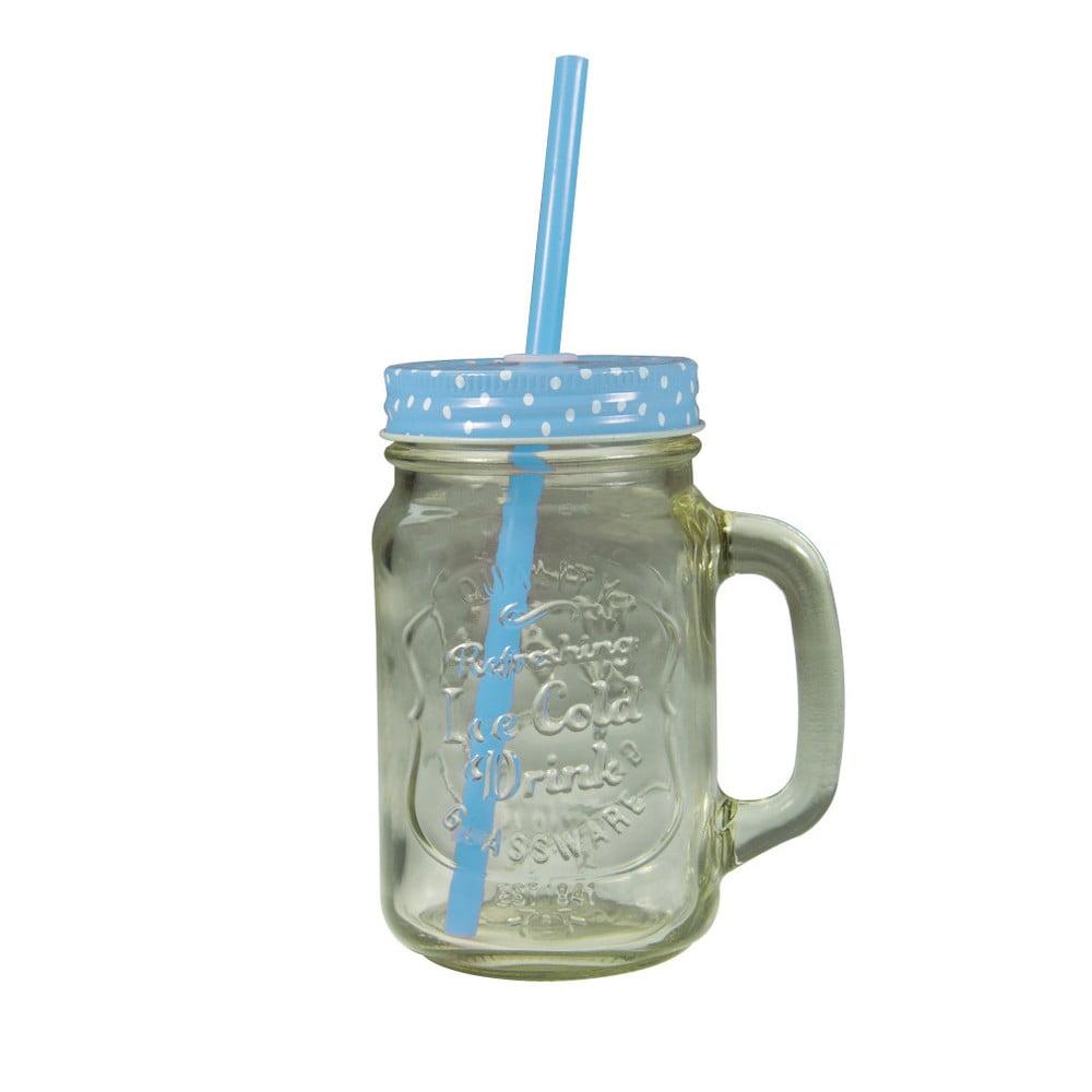 Sklenice s modrým krytem a brčkem JOCCA Straw, 430 ml