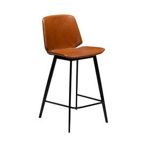 Koňakově hnědá barová židle z eko kůže DAN–FORM Denmark Swing