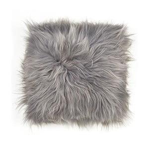 Pernă pentru scaun, din blană de miel cu fir lung Arctic Fur Saddo, 37 x 37 cm, gri