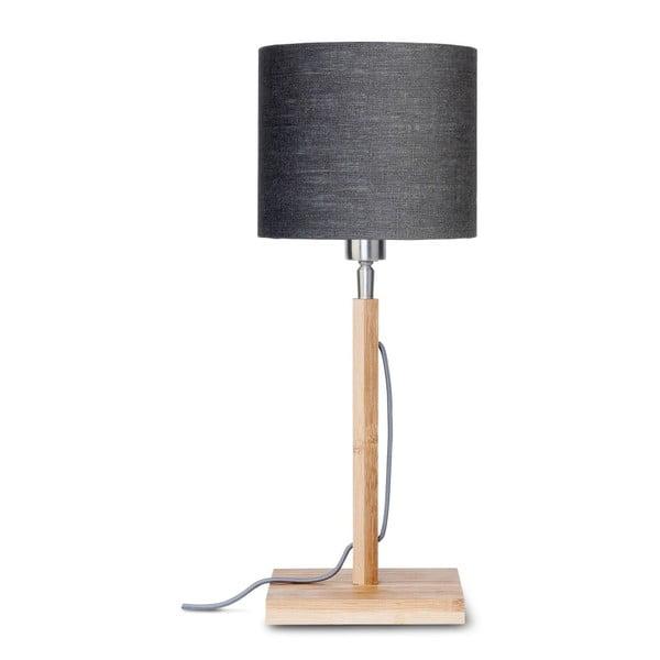 Stolní lampa s tmavě šedým stínidlem a konstrukcí z bambusu Good&Mojo Fuji