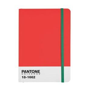 Zápisník A4 s barevnou gumičkou Flame Scarlet/Poison Green 18-1662