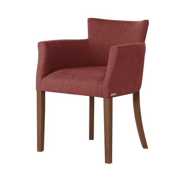 Cihlově červená židle s tmavě hnědými nohami z bukového dřeva Ted Lapidus Maison Santal