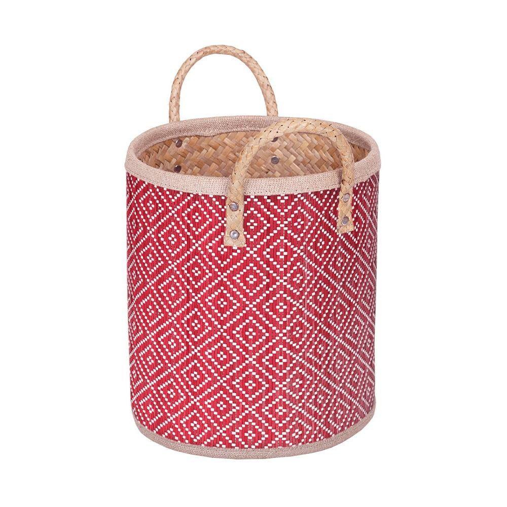 Červený ručně vyráběný koš z palmových listů a'miou home Bonnalisa, výška 28 cm