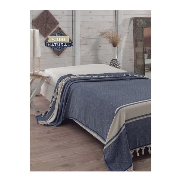 Elmas Dark Blue sötétkék pamut ágytakaró, 200x240 cm