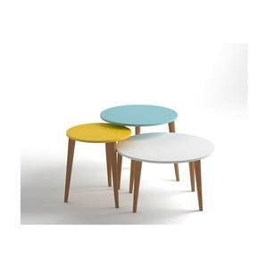 Sada 3 konferenčních stolků ve žluté, modré a bílé barvě Monte Roma