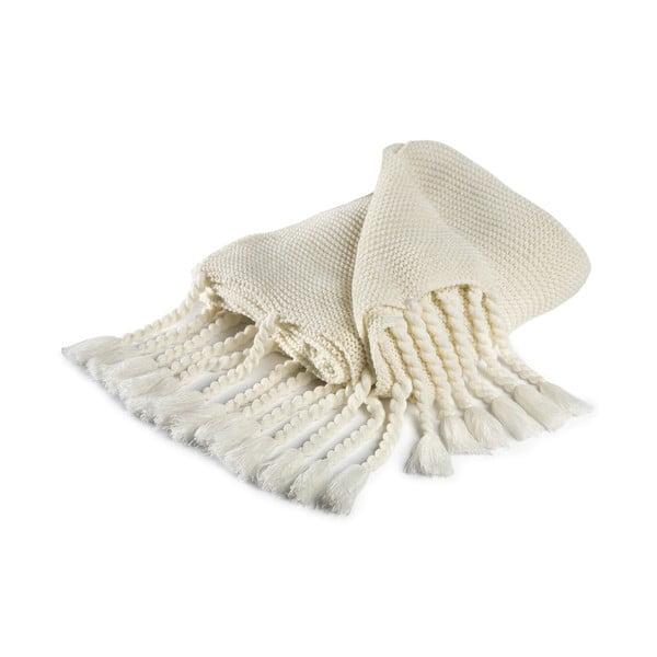 Biely pléd s prímesou bavlny Damai Vancouver, 130×170cm
