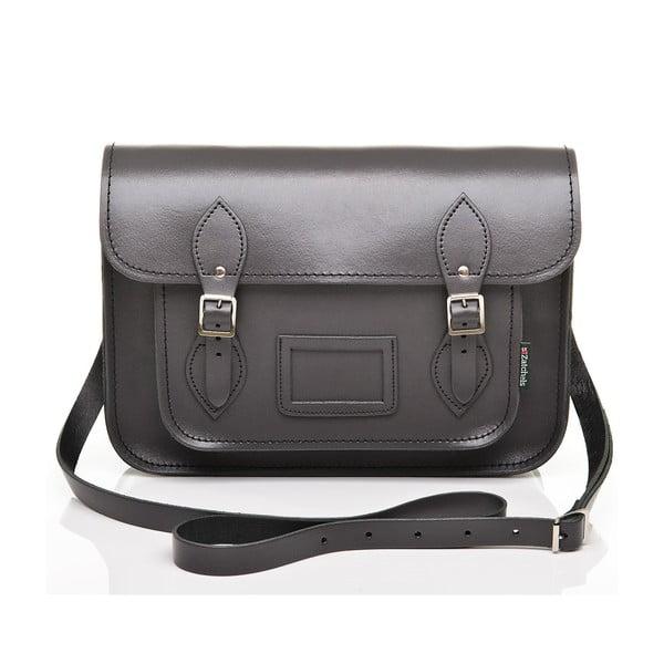 Kožená kabelka Satchel 40 cm, grafitově šedá