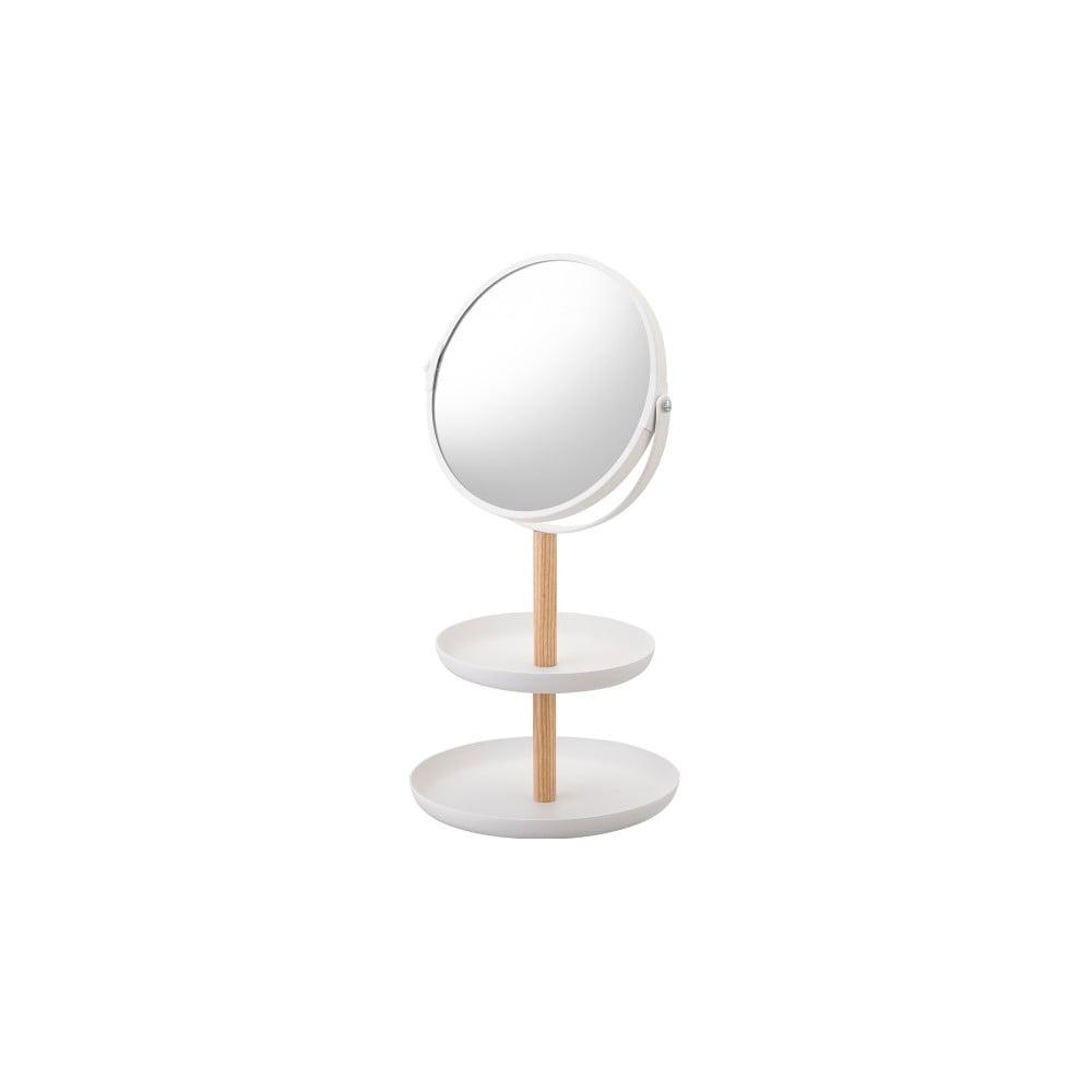 Bílé zrcadlo s úložnými miskami a detailem z bukového dřeva YAMAZAKI Tosca YAMAZAKI