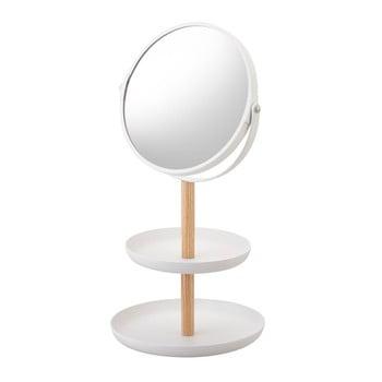 Oglindă cu tăvi de depozitare și detalii din lemn de fag YAMAZAKI Tosca, alb poza