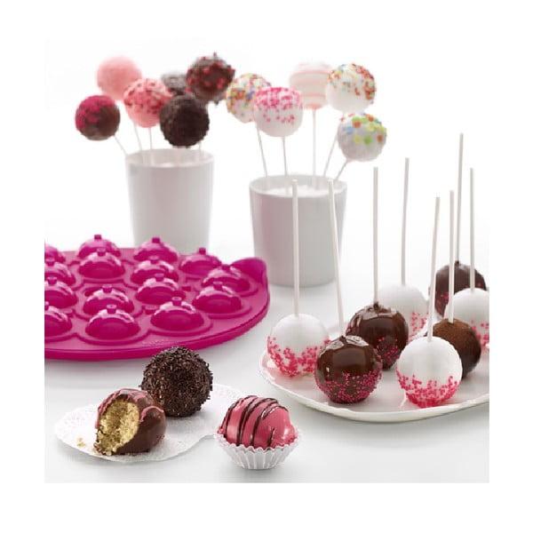 Růžová silikonová forma na cake pops Lékué Pops, ⌀ 26,5 cm