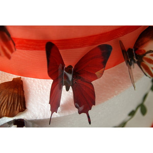 Set 18 autocolante 3D Ambiance Butterflies Chic, roșu