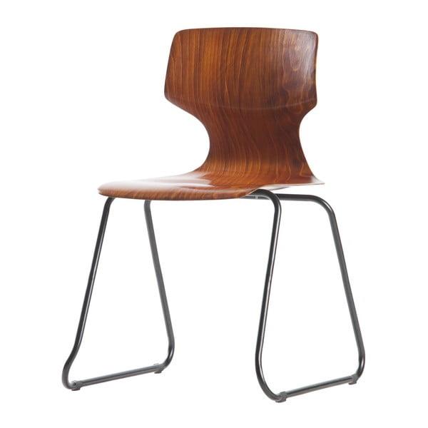Sada 2 hnědých židlí se sedákem z borovicového dřeva WOOOD Donna