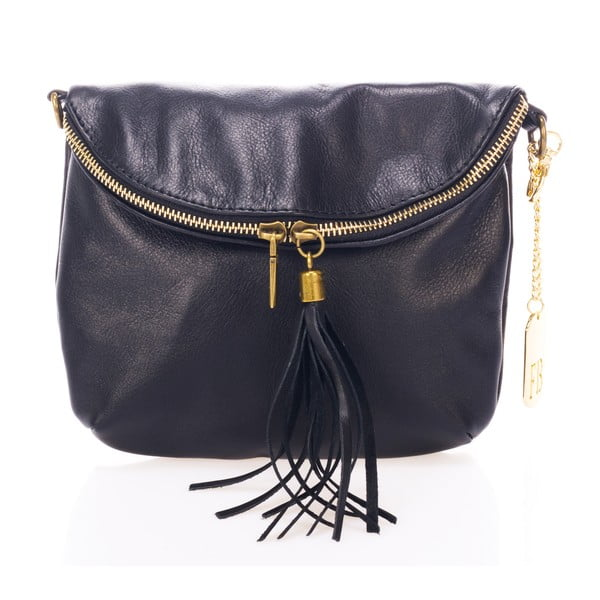 Černá kožená kabelka Federica Bass Lesuth