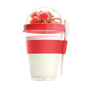 Červený svačinový kelímek Asobu Yo2GO, 360 ml
