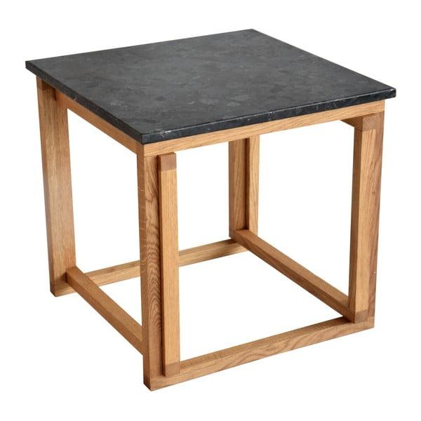 Černý žulový odkládací stolek s podnožím z dubového dřeva RGE Accent, šířka50cm