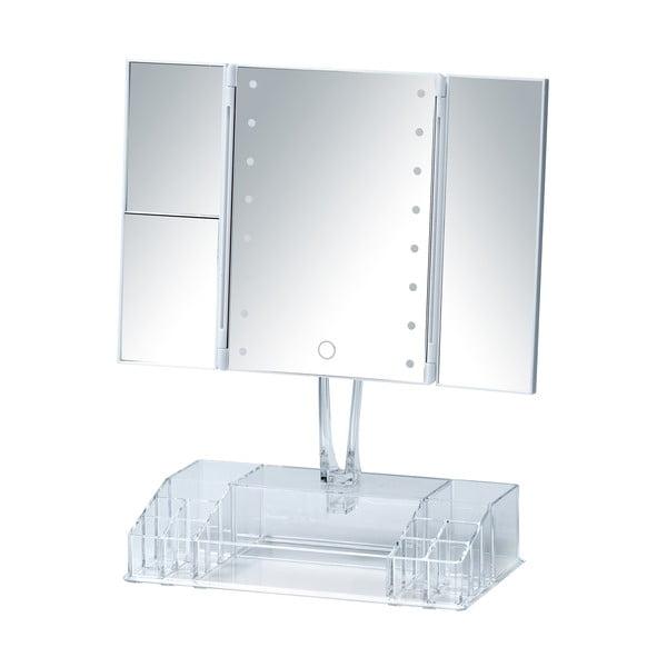 Bílé rozkládací kosmetické zrcadlo s LED podsvícením a organizérem na make-up Fanano
