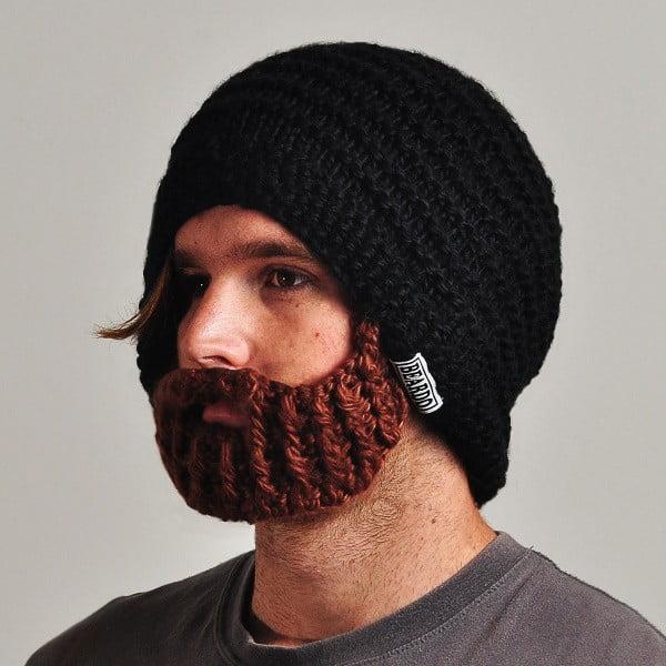 Černá čepice s odepínatelným plnovousem Beardo Original