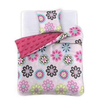 Lenjerie de pat din bumbac DecoKing Pink Meadow, 200 x 200 cm de la DecoKing