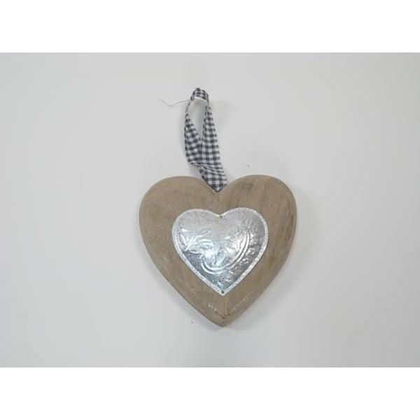 Závěsné dekorativní srdce Nature, 15 cm