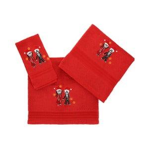 Set červené utěrky, ručníku a osušky z bavlny Cift Red