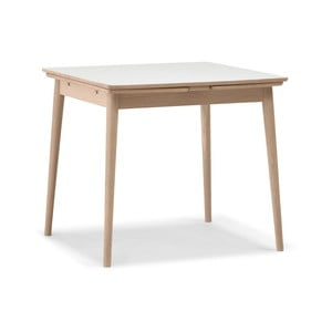 Rozkládací jídelní stůl s bílou deskou WOOD AND VISION Curve, 82 x 82 cm