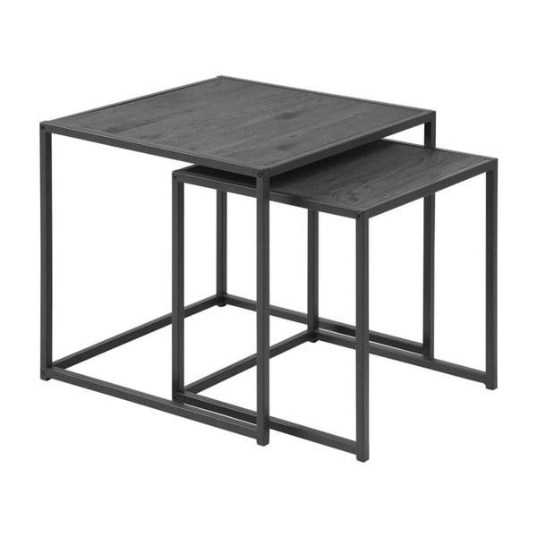 Komplet 2 czarnych stolików Actona Seaford