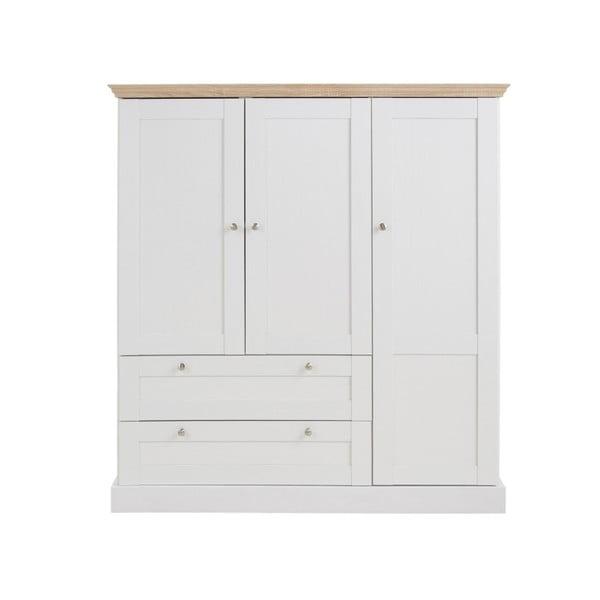 Bílá třídveřová šatní skříň s detaily v dubovém dekoru Støraa Bruce