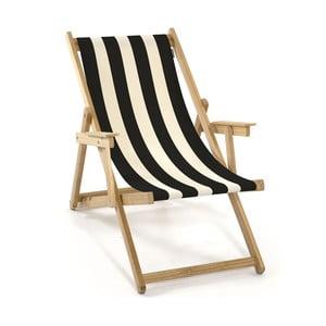 Skládací lehátko Beach, černé proužky